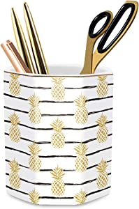 WAVEYU Pen Holder, Pencil Holder for Desk Floral Pattern Pencil Cup for Girls Kids Durable Ceramic Desk Organizer Makeup Brush Holder Ideal Gift for Office, Classroom, Home, Yellow Pineapple