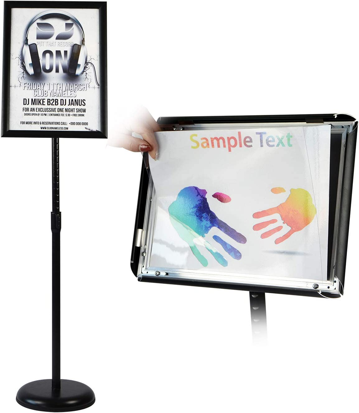 T-SIGN Adjustable Pedestal Poster Stand Aluminum Snap Open Frame for 8.5 x 11 Inch, Vertical and Horizontal View Sign Displayed, Black, Round Base