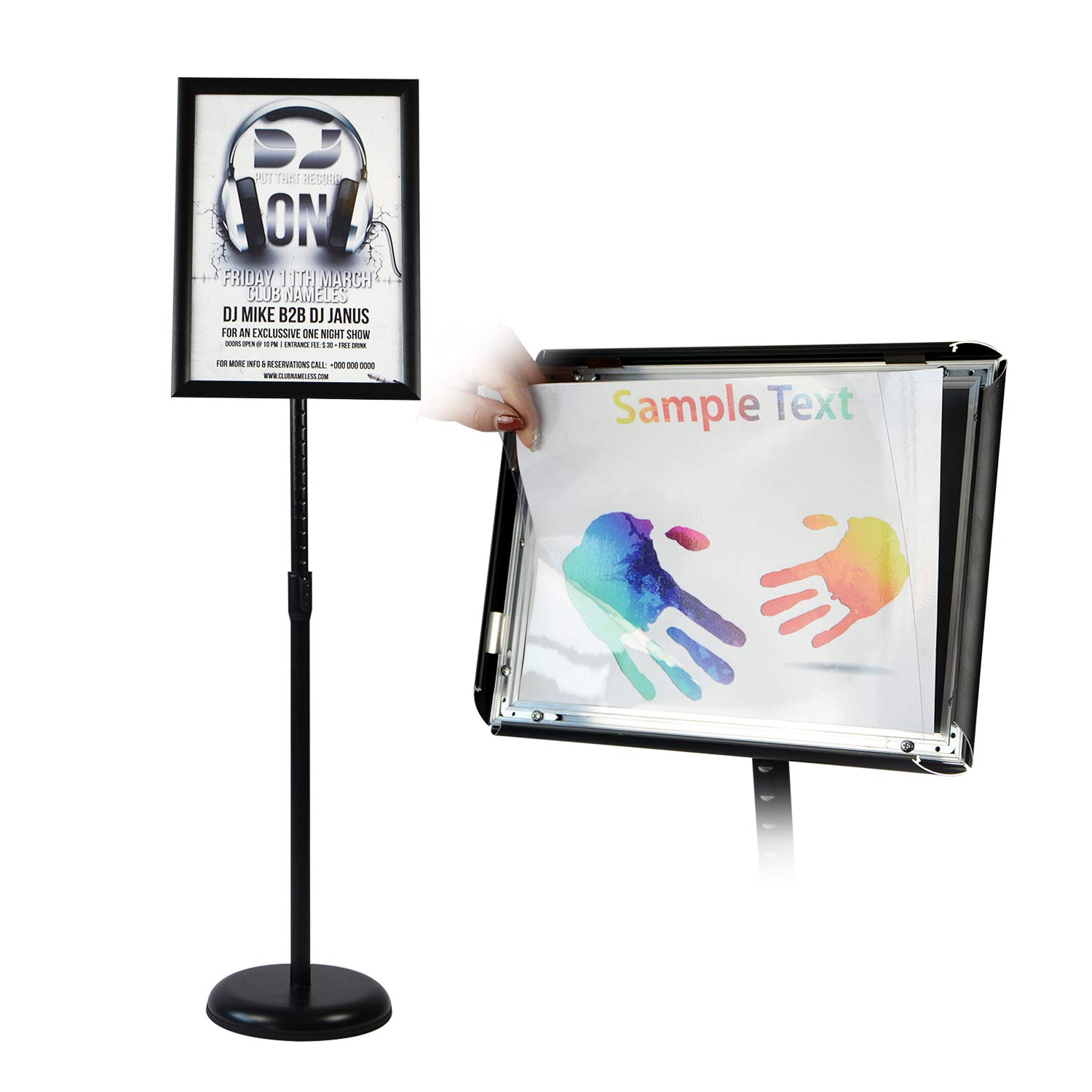 T-SIGN Adjustable Pedestal Poster Stand Aluminum Snap Open Frame for 8.5 x 11 Inch, Vertical and Horizontal View Sign Displayed, Black, Round Base by T-SIGN