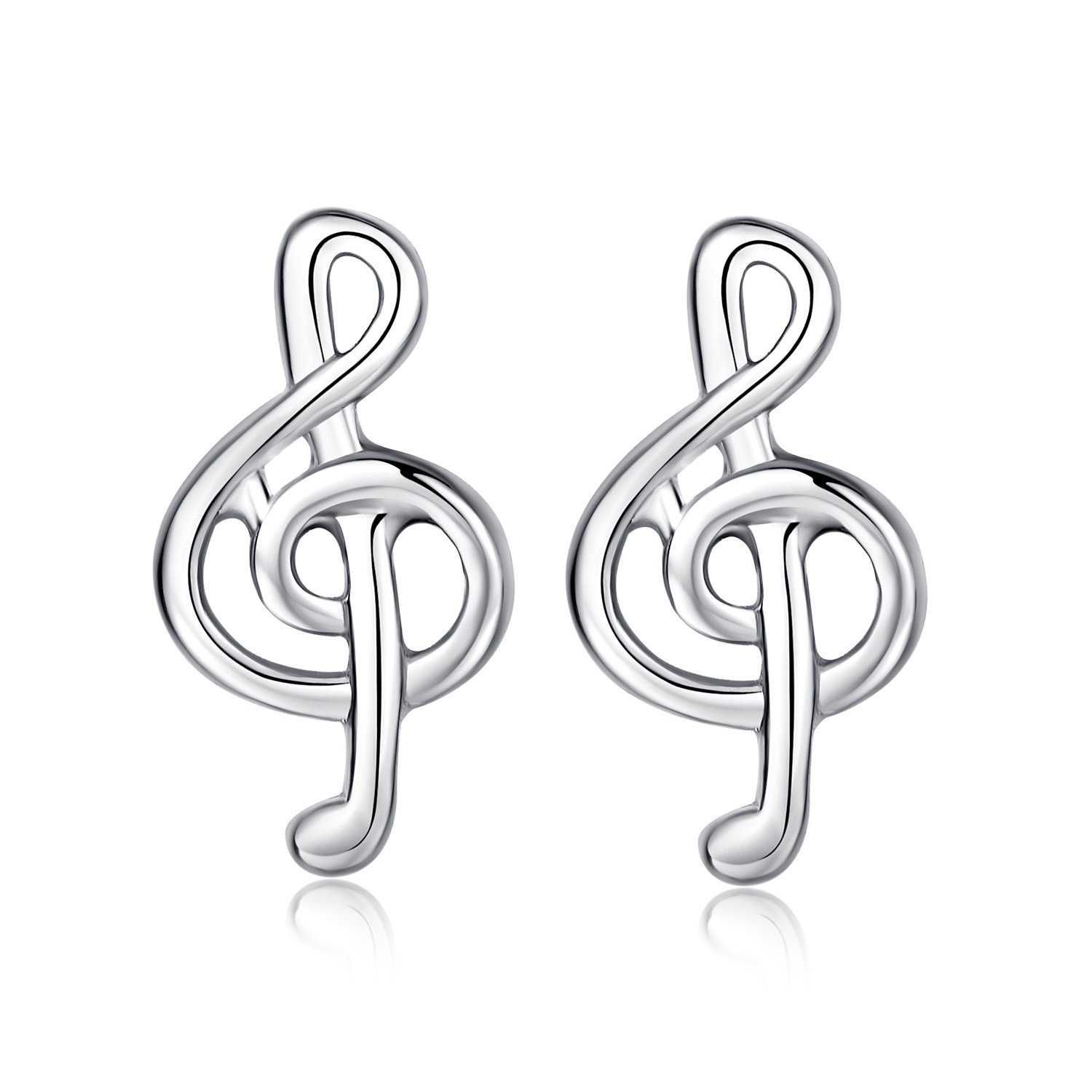 Sterling Silver Girls Stud Earrings (Music)