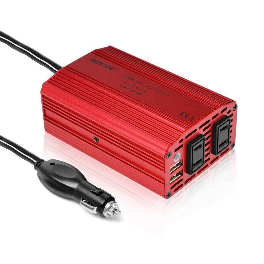 BESTEK カーインバーター 300W シガーソケット 車載充電器 USB 2ポート ACコンセント 2口