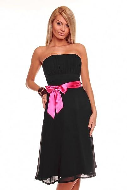 db2d11d05202 Knielanges Bandeau Kleid Chiffon Ballkleid Abendkleid Cocktailkleid  Festkleid XS bis XXL M (36) Schwarz