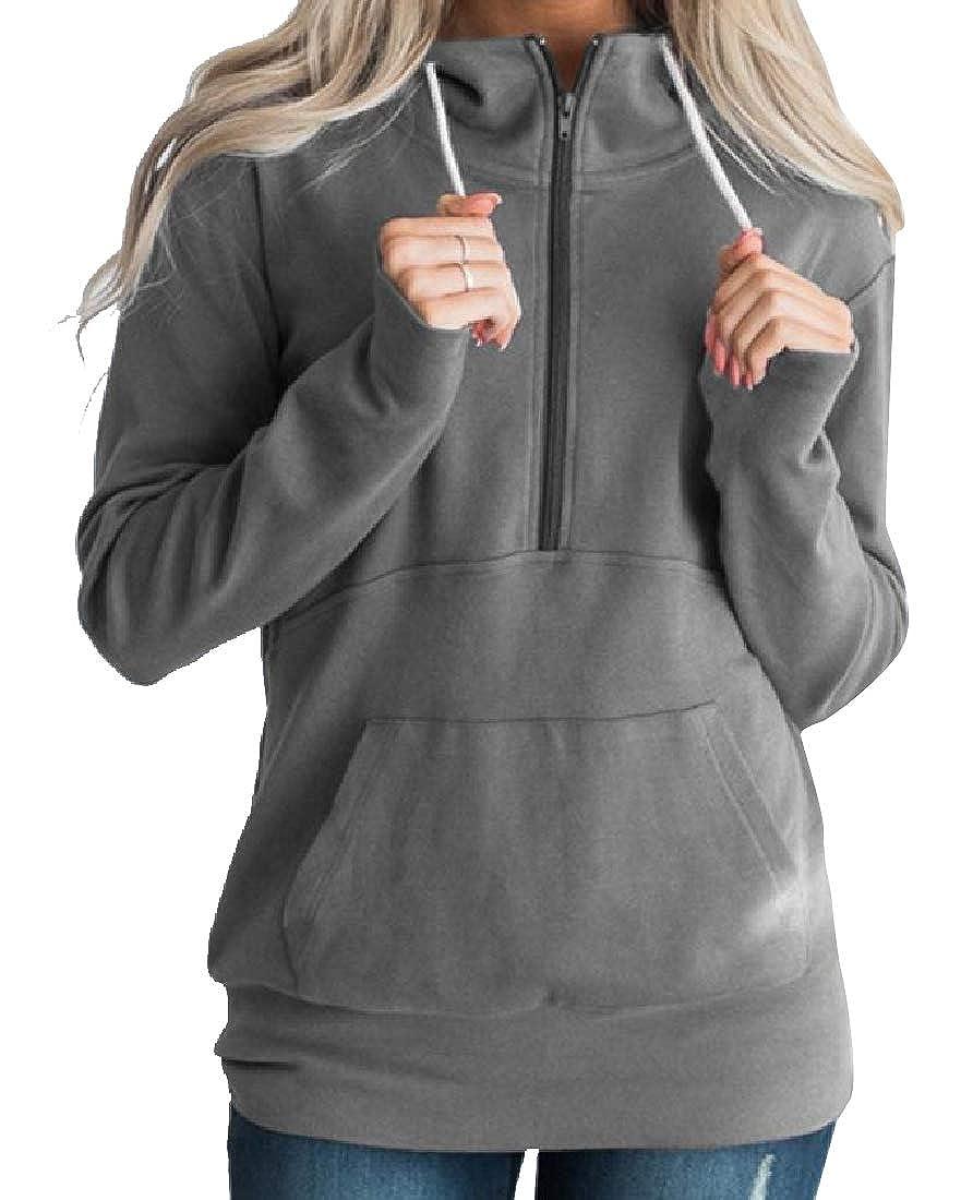 Fseason-Women Classic Fit Fleece Lined Solid Color Tunic Sweatshirts