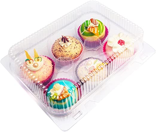 Amazon.com: sweet. vida 6 Cupcakes recipientes de Cupcake ...