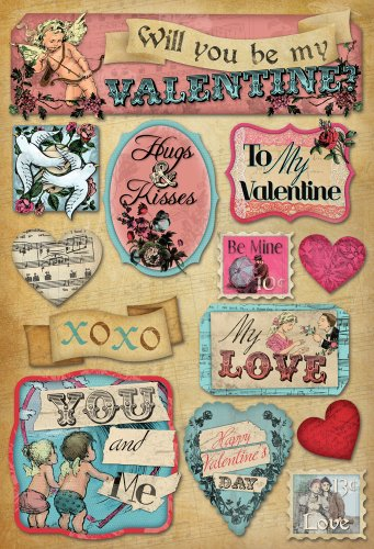KAREN FOSTER Design Acid and Lignin Free Scrapbooking Sticker Sheet, My Love (All My Love My Hugs My Kisses)