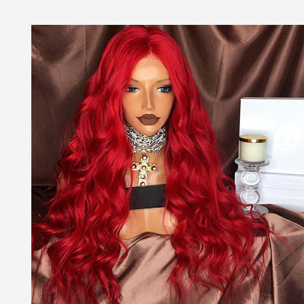 NOGOQU Cosplay & Party Charming Red Long Wavy Wigs Middle Parting by NOGOQU (Image #2)