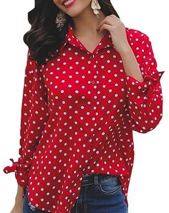 f8e983c58cf jiejiegao Women s Long Sleeve Floral Polka Dots Blouse Tie Knot Casual  Button Down Shirts  Amazon.in  Clothing   Accessories