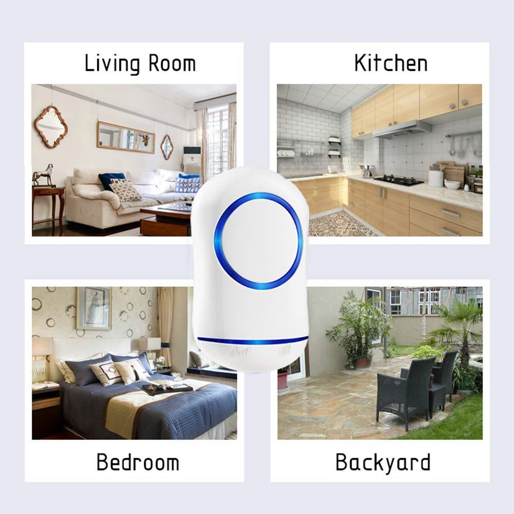 WXLAA Home Waterproof Wireless Doorbell 45 Songs Chime Door Bell 1 Transmitter 2 Receiver 300M Black EU Plug by WXLAA (Image #6)