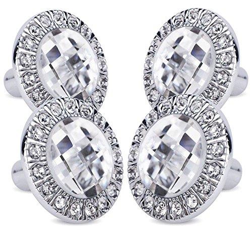 (4X Handle knob Silver diament Brilliant for Cabinet Drawer Door Z4F4)