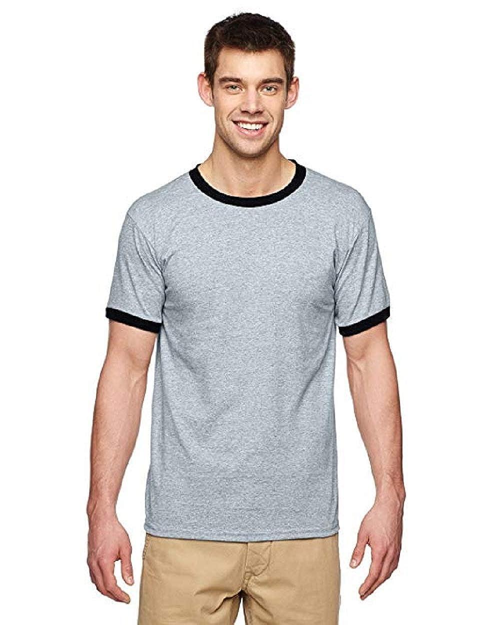 S - By Gildan Gildan Adult DryBlend 56 Oz Ringer T-Shirt White//Navy Style # G860 - Original Label