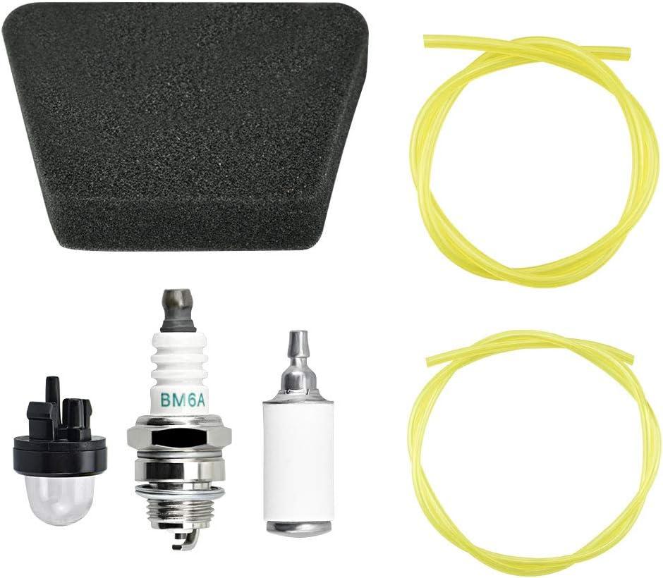 EMAGEREN Filtro de Gasolina Universal, Kit de 2 Tomaños Manguera de Combustible Amarillo con Filtro de Aire Bujía, Filtro de Combustible con Bulbo de Cebador Esponja para Cortacésped Motosierra