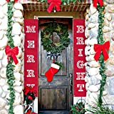 ATool Merry Bright Christmas Banner, New Year Decorations Outdoor Indoor | Merry Bright Porch Sign | Red Xmas Decoration Banners for Home Wall Door Apartment Party