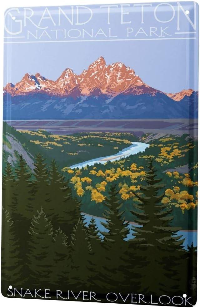 LEotiE SINCE 2004 Tin Sign Metal Plate Decorative Sign Home Decor Plaques Adventurer Grand Teton National Park