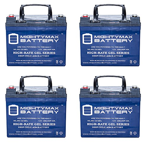 12V 35Ah GEL Battery Replacement for Solar Power Banks - 4 Pack - Mighty Max Battery brand product by Mighty Max Battery