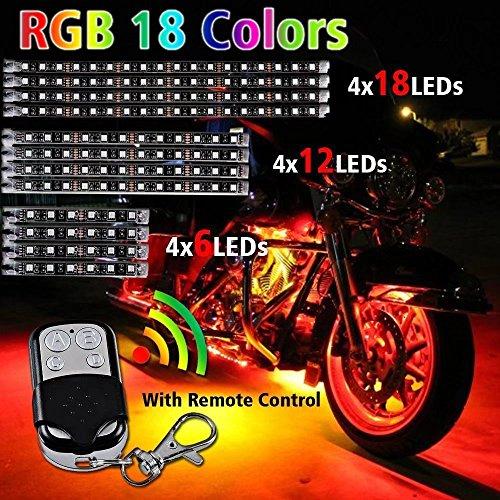 JahyShow Waterproof Premium Multi-Color Motorcycle LED Lights | Motorbike LED Light Kit 12 Volt Light Strips Neon Accent Glow | 18 SUPER Bright RGB Colors Vibrant Remote