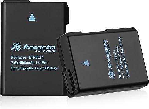 Powerextra Batería Nikon EN-EL14 EN EL14a para Nikon D3100 ...