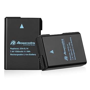 Powerextra Batería Nikon EN-EL14 EN EL14a para Nikon D3100 D3200 D3300 D3400 D5100 D5200 D5300 D5500 Coolpix P7000 P7100 P7700 P7800 en el14a DSLR ...