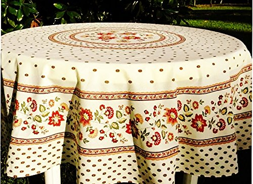 Le Cluny, Fayence Red and Creamy White, French Provence 100 Percent COATED Cotton Tablecloth, 70 Inch (White Coated Cotton)