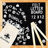 """Black Felt Letter Board (12""""x12"""") Changeable Letter Boards, COMPLETE BUNDLE INCLUDES: 290 White Plastic Letters/Numbers/Characters + 45 EMOJI + Canvas Bag + Mount Hook + Wooden Stand - By HoneyAce"""