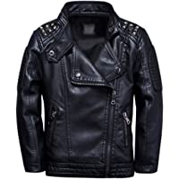 TLAENSON Boys Black Leather Jacket Studded Motorcycle Faux Leather Coat