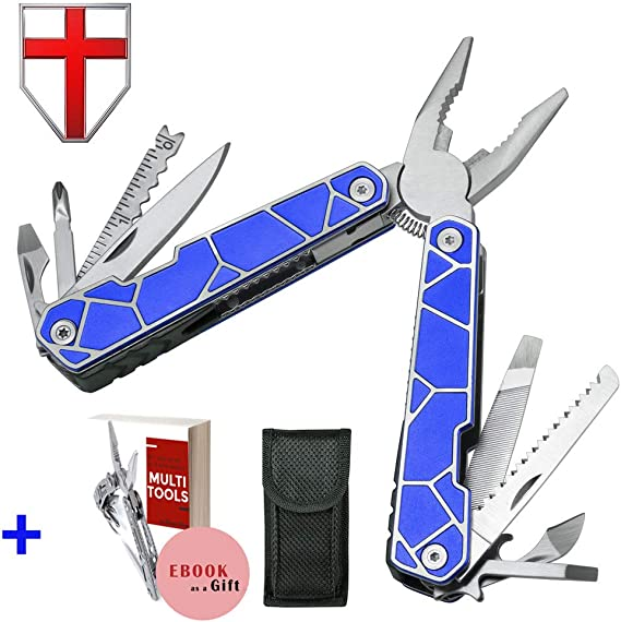 11 In 1 Multitool - Best Multi Tool All In One for Men - Multitool Knife Knives - Camping Survival EDC Multi-Tool - Blue Multitool Pliers - Multitools Pocket Knofe Multitool - Best Gift for Men 2239