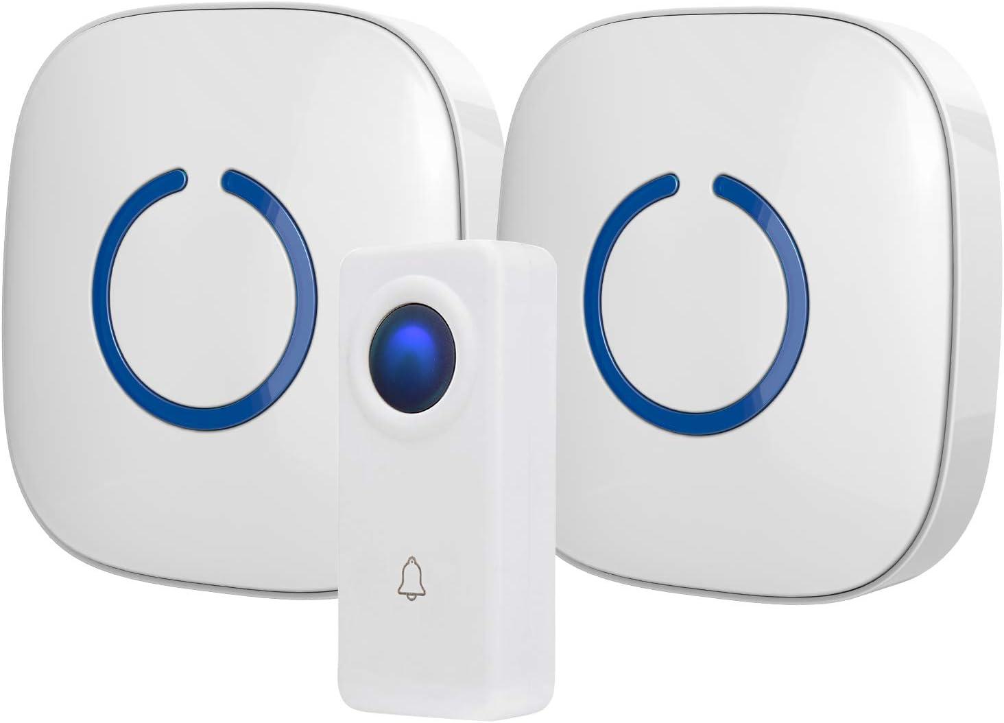 SadoTech White Wireless Doorbell Kit: Crosspoint Wireless Doorbells for Home with 1 Push Button Transmitter and 2 Receivers - Waterproof, Long Range Wireless Door Bell - Battery Operated Door Bells