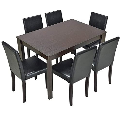 Furgle 7 Piece Dining Table Set with Oak Wood Dining Room Table and Set of 6 Dining Chairs, Brown