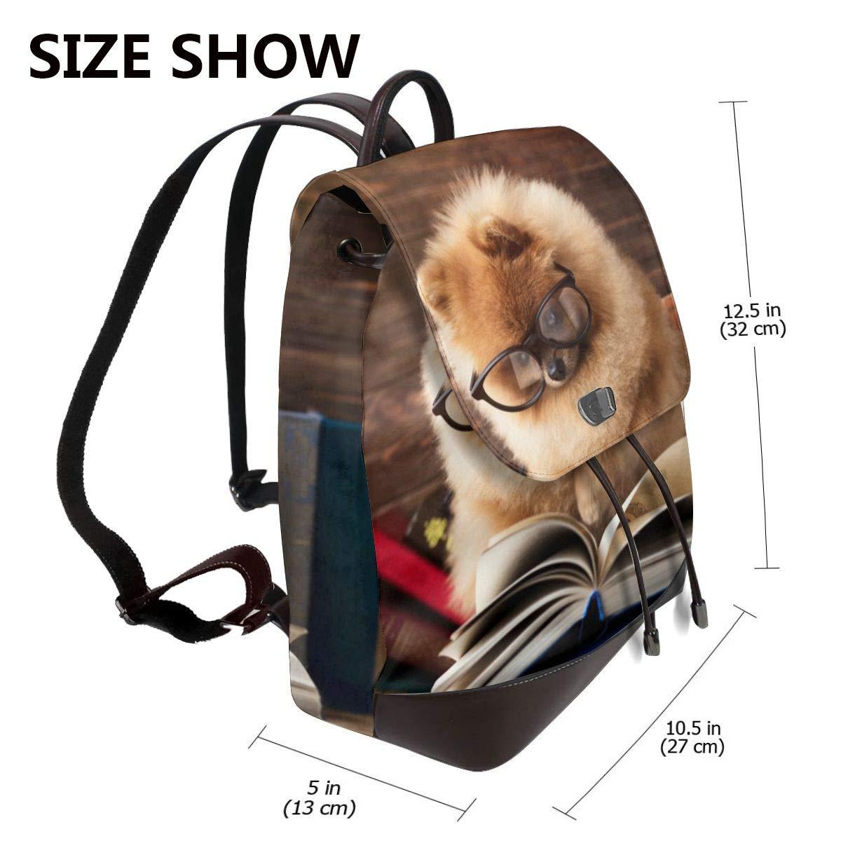 Smart Pomeranian hund kvinnor mode äkta läder ryggsäck flickor resa skola mini axelväska Smart Pomeranian Dog