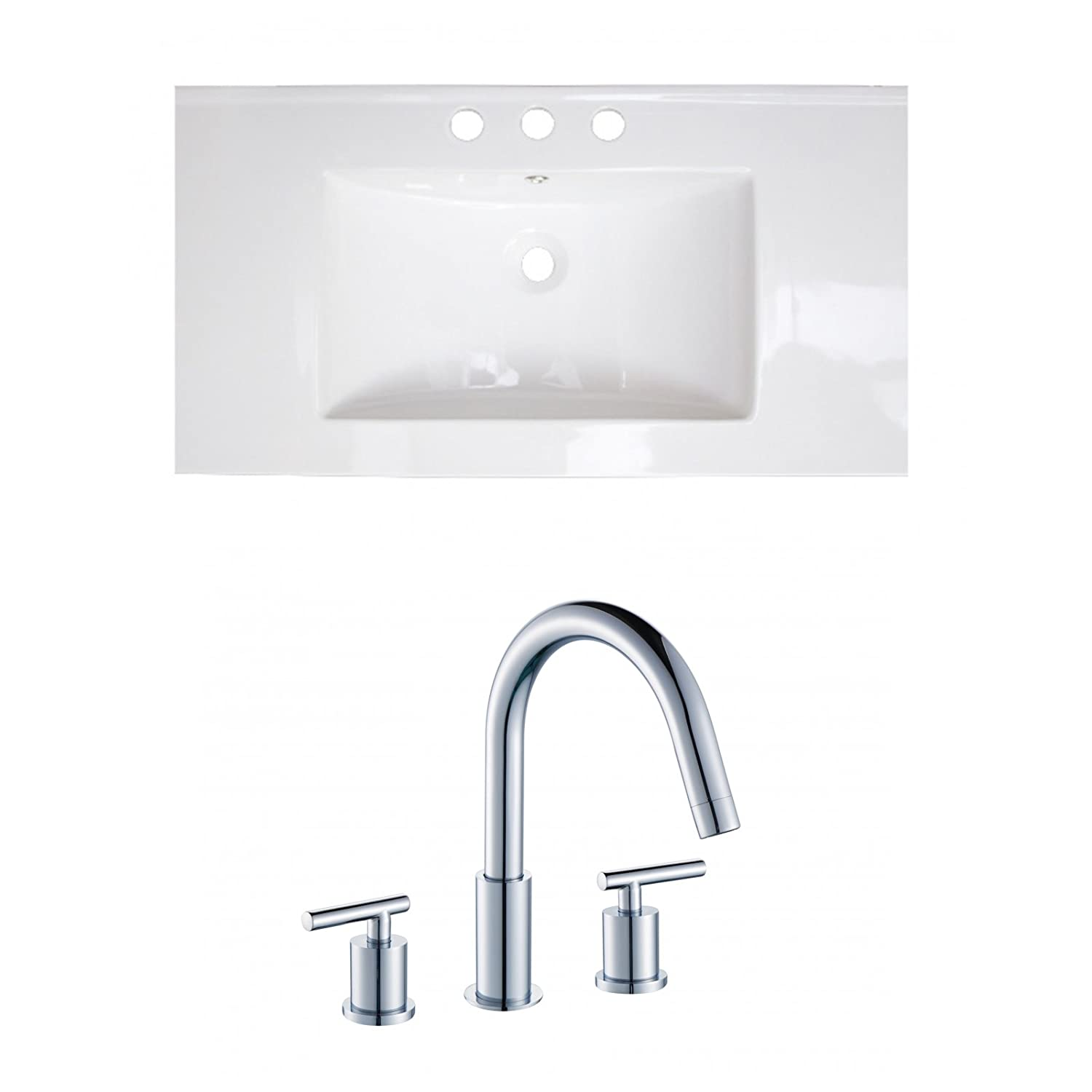 "Jade Bath JB-15636 36"" W x 20"" D Ceramic Top Set with 8"" o.c. CUPC Faucet, White chic"
