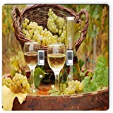 Rikki Knight 1954 Double Toggle White Wine Glasses with Grapes Design Light Switch Plate
