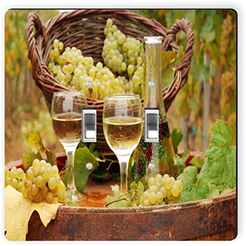 Rikki Knight 1954 Double Toggle White Wine Glasses with Grapes Design Light Switch Plate by Rikki Knight