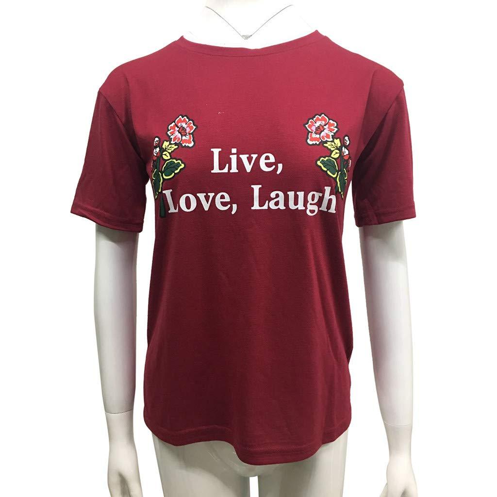 Sannysis Womens Fashion Tees Casual Short Sleeve Rose Printed Crewneck T-Shirts Top Blouse