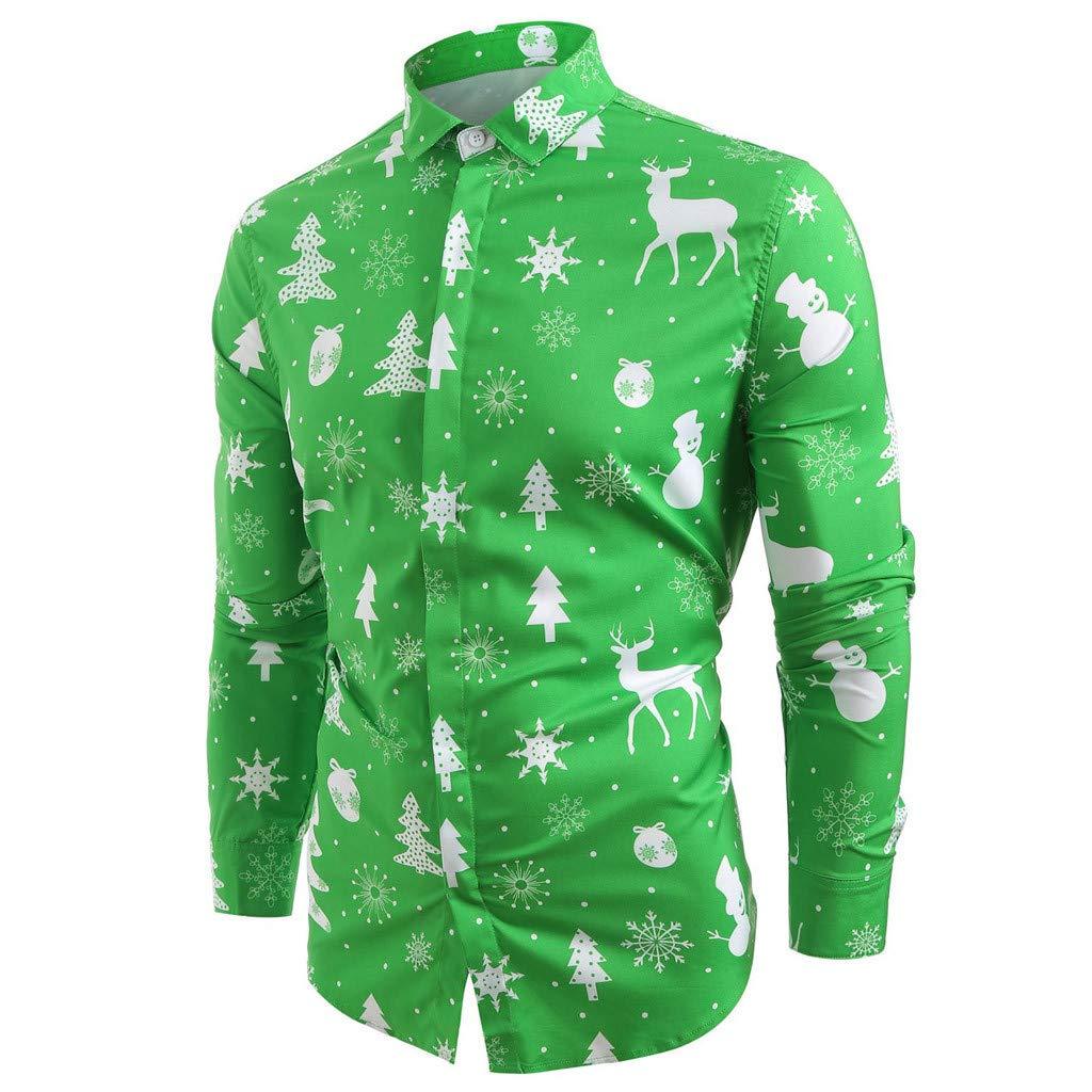 Sumen Men Christmas Shirt Casual Snowflakes Christmas Deer Printed Top Blouse
