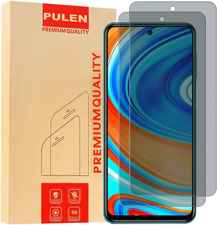 [2-Pack] PULEN for Xiaomi Redmi Note 9S/Note 9 Pro/Redmi Note 9T/Xiaomi Poco X3 NFC Privacy Screen Protector,Anti-spy Scratch Resistance Bubble Free 9H Hardness Tempered Glass