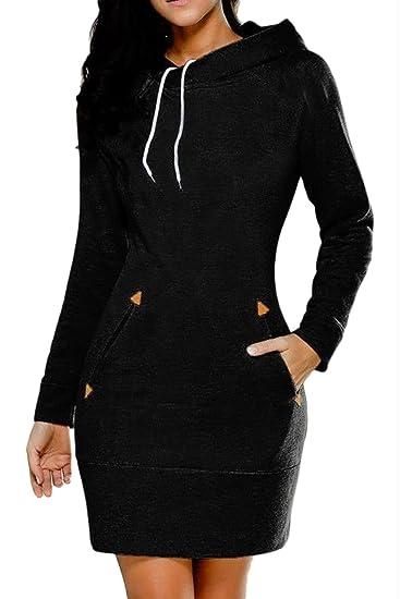 907be5c57fe Suvotimo Women Plus Size Casual Pullover Drawstring Hoodie Sweater  Sweatshirts Mini Dress at Amazon Women s Clothing store