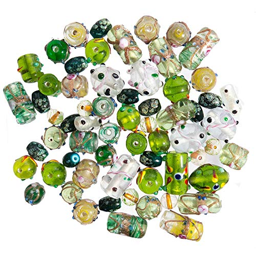 Glass Beads for Jewelry Making for Adults 120-140 Pieces Premium Quality Lampwork Murano Loose Beads for DIY and Fashion Designs – Wholesale Jewelry Craft Supplies (Green Combo - 10 oz)