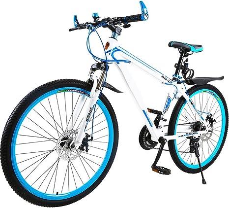 Rueda de 24 Pulgadas, suspensión Delantera, Bicicleta de montaña para niños, Marco de Acero al Carbono de 27 velocidades, Azul: Amazon.es: Deportes y aire libre
