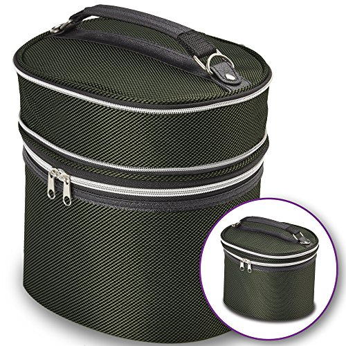 Green Wig Travel Carrying Case - Lightweight and Portable Travelling Box - Zipper Top, Double Stitching - by Adolfo Design