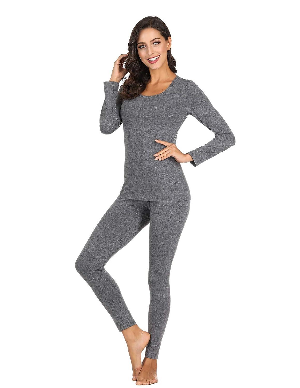 Womens Long Sleeve Thermal Underwear Cotton Long Johns Set Ultra-Soft Base Layer ZE0228-GIN