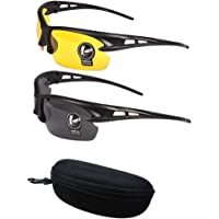 2 Pairs Unisex Sunglasses Anti Glare Non-Polarized Stylish Day And Night Vision Glasses best for Men Women Driving Cycling Shooting Hunting Skiing Outdoor Sports Protection