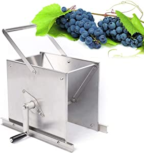 WUPYI Stainless Steel Grape Crusher,Manual Fruit Crusher Crushing Machine Manual Juicer Grinder Home Brewing Equipment for Wine and Grape Pressing