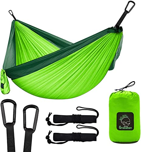 Grassman Camping Hammock Double Single Portable Hammock with Tree Straps, Lightweight Parachute Hammocks Camping Accessories Gear for Indoor Outdoor Backpacking, Travel, Hiking, Beach