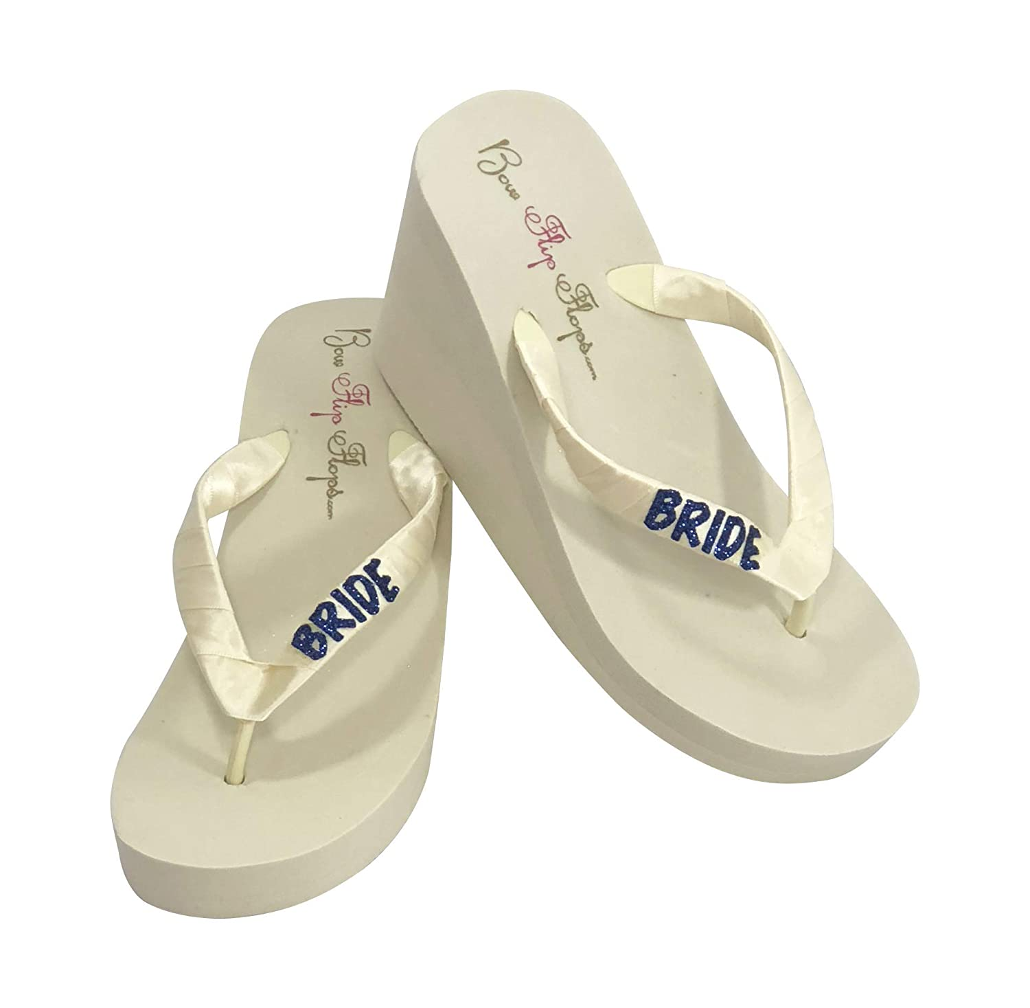 d921916bc6ee Amazon.com  Navy Glitter Cute Wedding Wedge Flip Flops with Bride on the  straps  Handmade