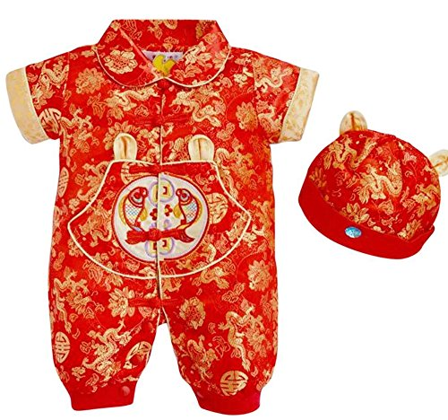 CRB Fashion Baby Newborn Boy Girls Chinese New Years Asian Shirt Outfit ... (2 to 4 Months, Short Sleeves Dragon)