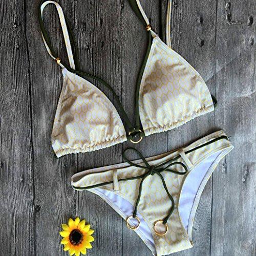 Vovotrade Grano beige Traje de baño de traje de baño del bikiní de la playa del sujetador del Push-Up de la mujer conjunto