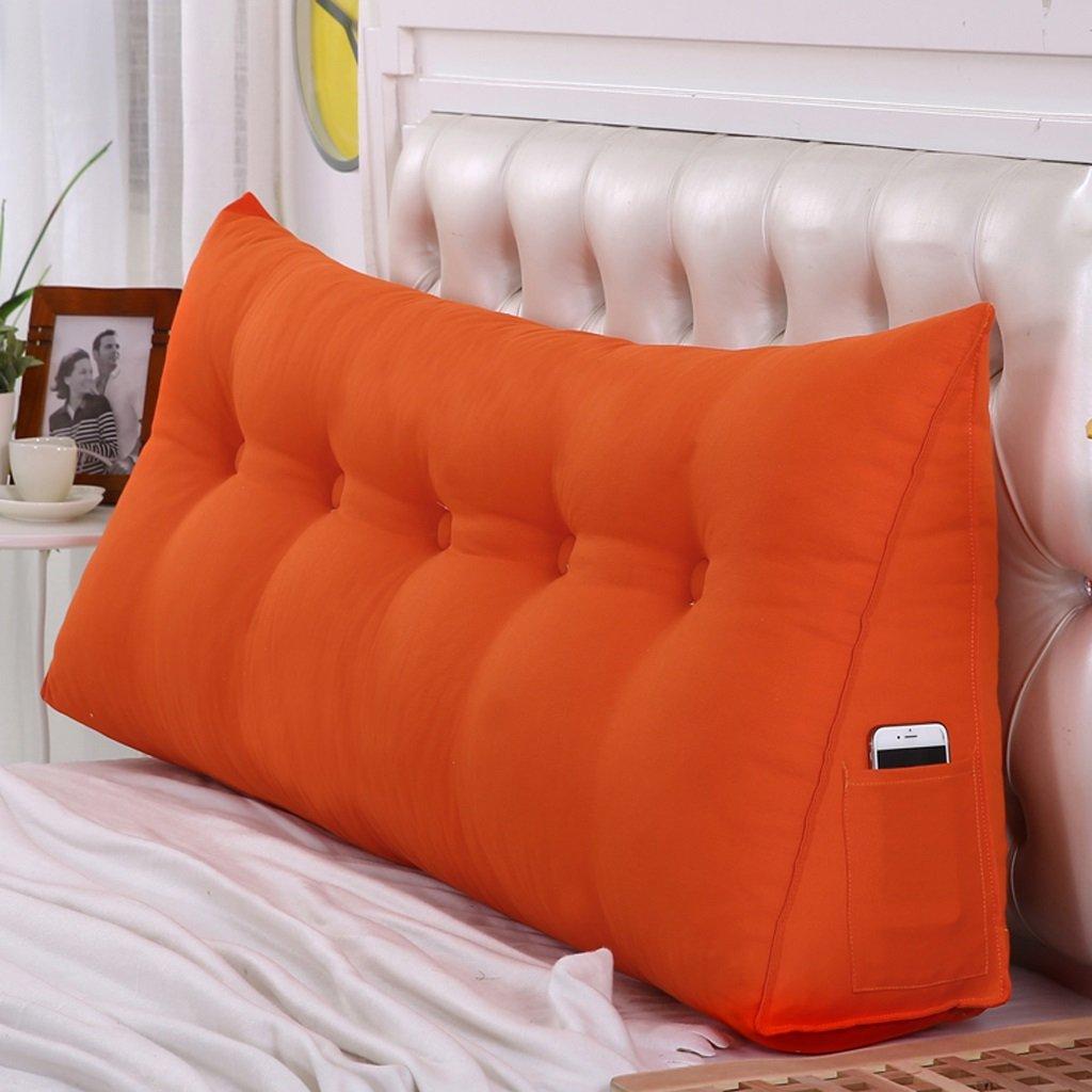 DGF Bedside triangle cushions / pillow, waist pillow sofa back soft bag / bed waist back pad (Energy A +) ( Color : Orange , Size : 505020cm )