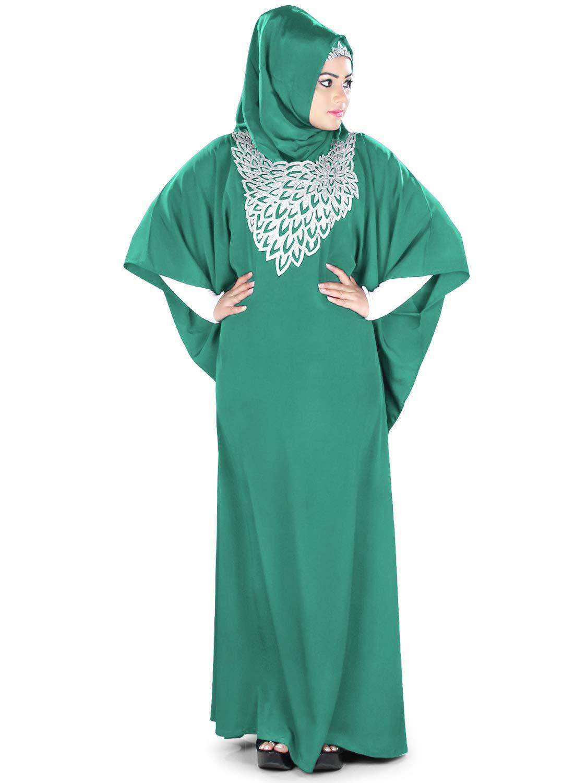 MyBatua Womens Kaftan Silver Embroidered Fancy Abaya Evening Gown Free Size Maxi Dress KF-020, Bottle Green