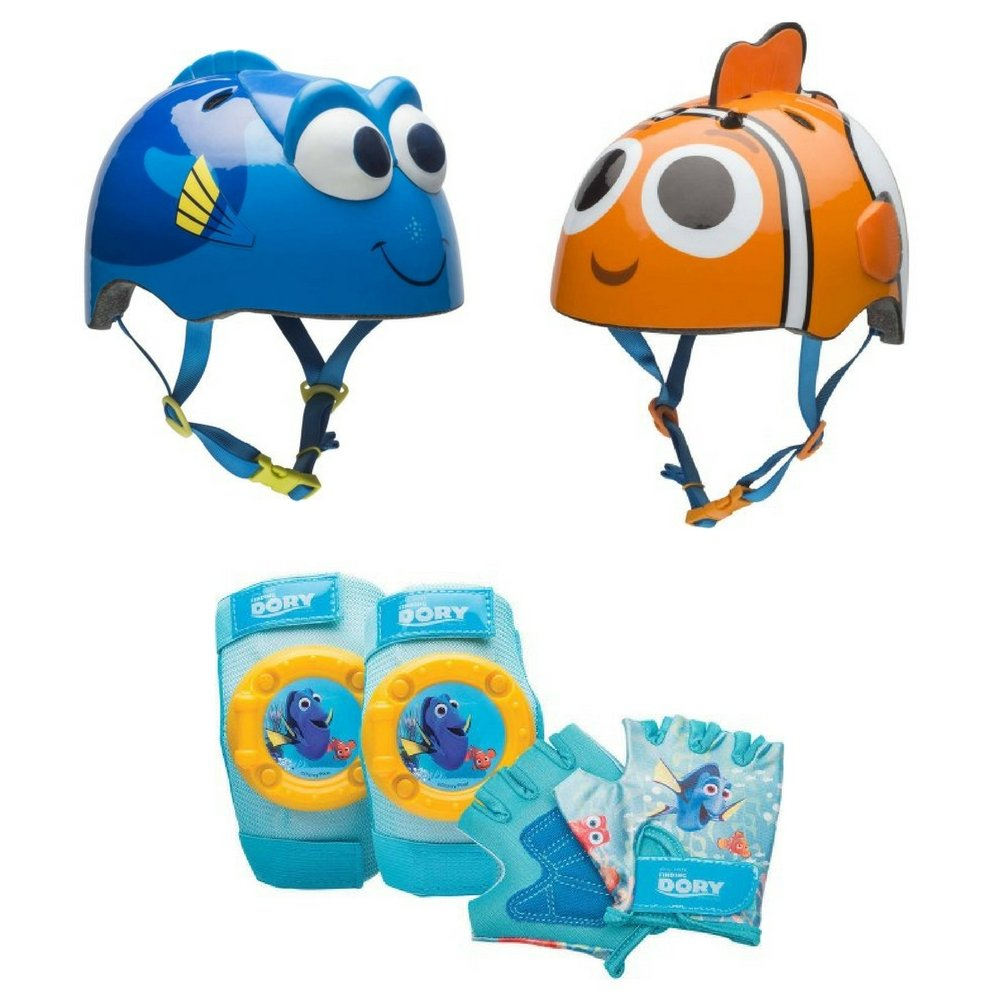 Kids Bike Helmet, Safety Bell & Protective Pad and Glove Set, Bell Sports, Kids Bike Accessories, Toddler, Outdoor Play, Favorite Kids Character, Fun Activity (Choose Character) (Finding Dory)