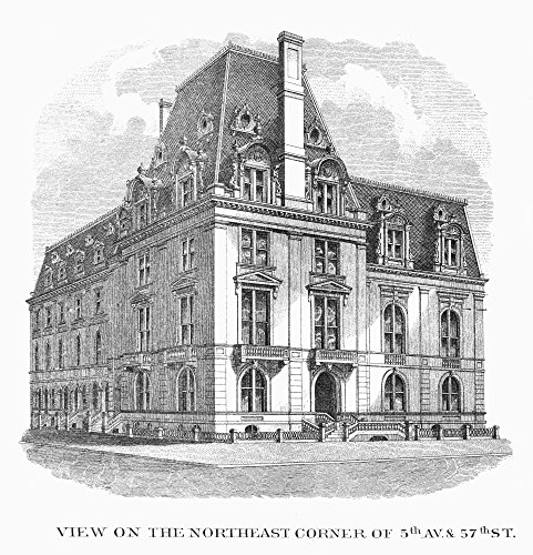 New York Fifth Avenue Nview Of The Corner Of Fifth Avenue And 57Th Street New York Wood Engraving 19Th Century Poster Print by (24 x ()