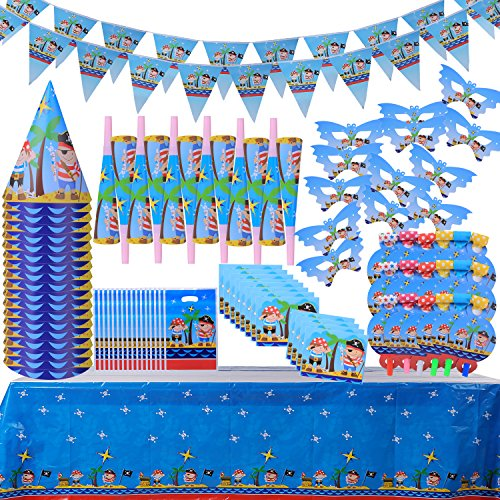 Food Related Costume Ideas (Children Birthday Party Decoration Supply Packs (111 PCs) Pirate Assorted Set-Party Favors- Eye Masks;Trumpets;Blowouts;Hats;Invitation Cards;Gift Bags; Tablecloths;Triangle Banners;(For 18 Guest))